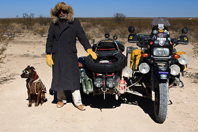 The original in color, Spirit and I on a cold day in Big Bend flats, Texas.