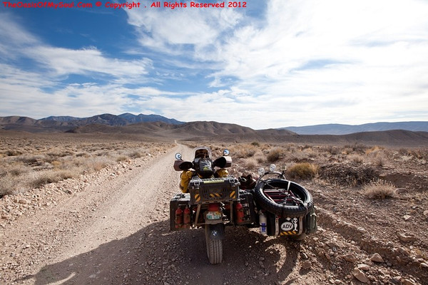Riding and camping on Skidoo Rd in Death Valley.